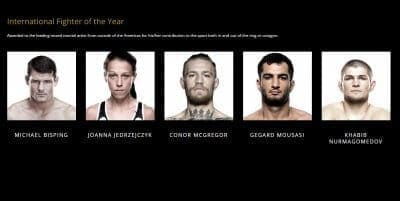 Хабиб Нурмагомедов номинирован на премию World MMA Awards 2017