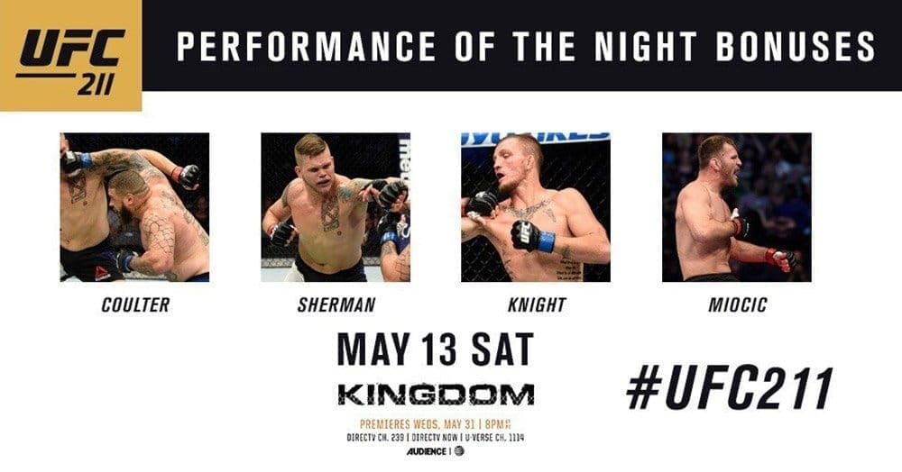Бонусы турнира UFC 211