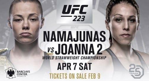 Роуз Намаюнас против Йоанны Еджейчик на UFC 223 в Бруклине